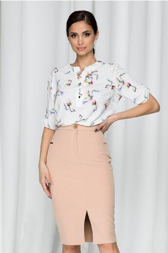 Bluza Caterina alba cu imprimeu floral si maneci scurte prinse cu nasturi