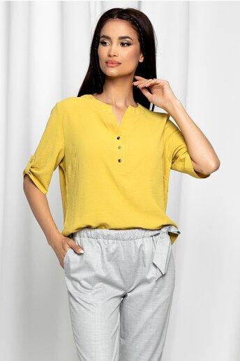 Bluza Caterina galben mustar cu maneci scurte prinse cu nasturi