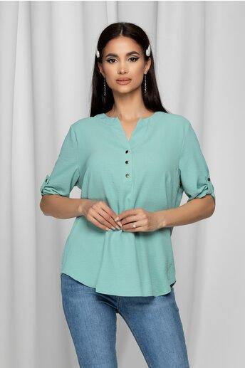 Bluza Caterina verde mint cu maneci scurte prinse cu nasturi