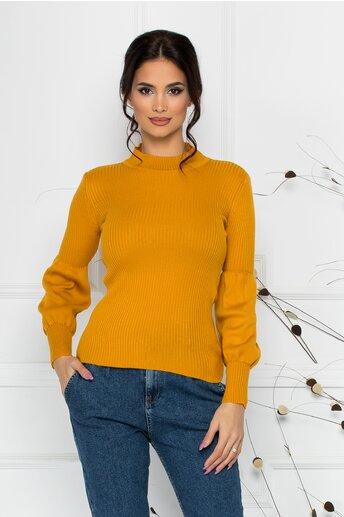 Bluza Catrina galben mustar cu baza manecilor bufanta