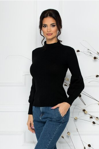 Bluza Catrina neagra cu baza manecilor bufanta