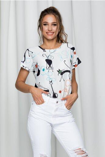 Bluza Cats alba cu imprimeu