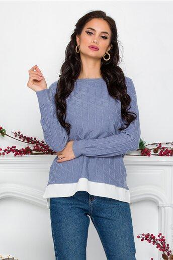 Bluza Caty albastra cu baza tip camasa