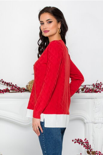 Bluza Caty caramizie cu baza tip camasa