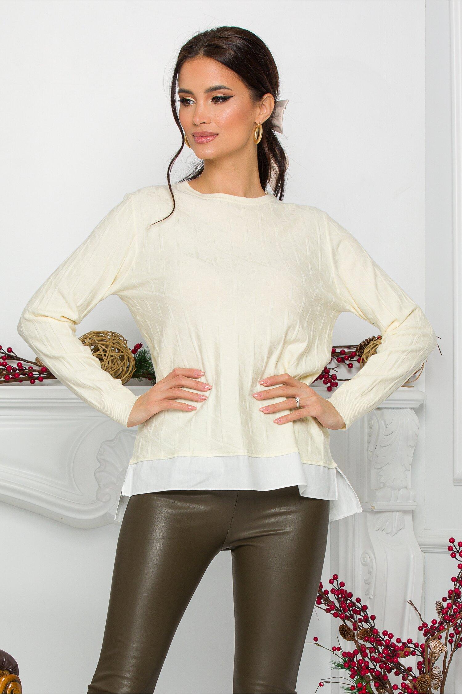 Bluza Caty ivoire cu baza tip camasa