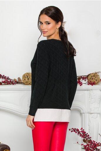 Bluza Caty neagra cu baza tip camasa