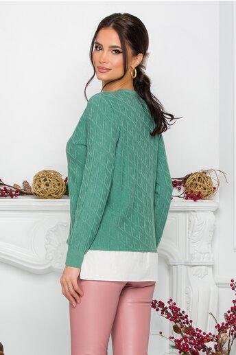Bluza Caty verde cu baza tip camasa