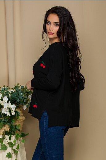 Bluza Cherry neagra cu insertii brodate