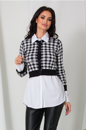 Bluza Chrissy cu carouri si camasa