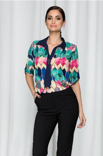 Bluza Ciara din voal cu imprimeu geometric si accesoriu la decolteu