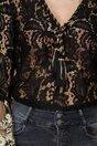 Bluza Clara neagra din dantela cu maneci evazate