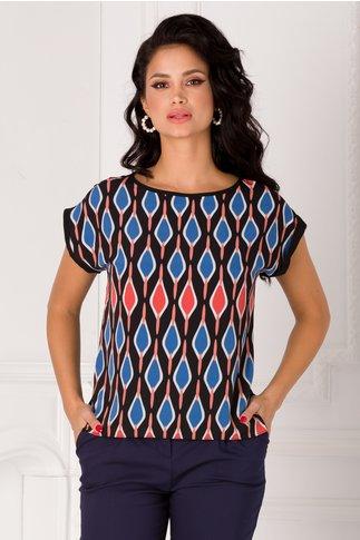 Bluza Claudia neagra cu imprimeu colorat pe fata