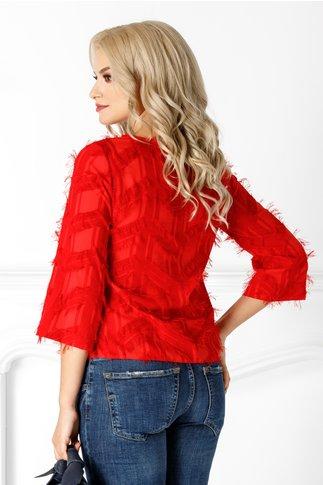 Bluza Clemy rosie cu insertii