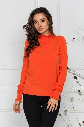 Bluza Crina orange cu guler si mansete incretite