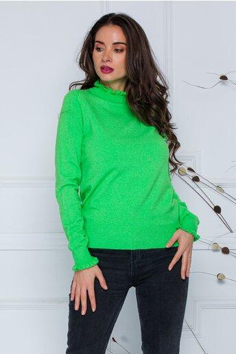 Bluza Crina verde aprins cu guler si mansete incretite
