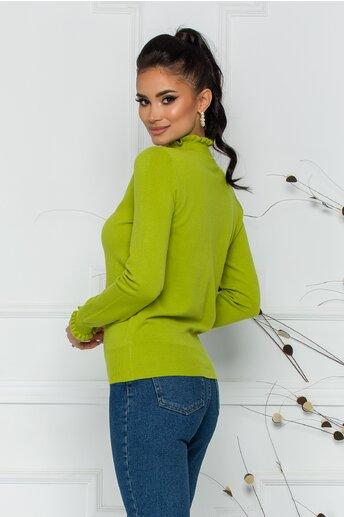 Bluza Crina verde lime cu guler si mansete incretite