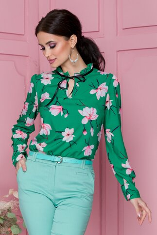 Bluza Crisa verde cu imprimeu floral