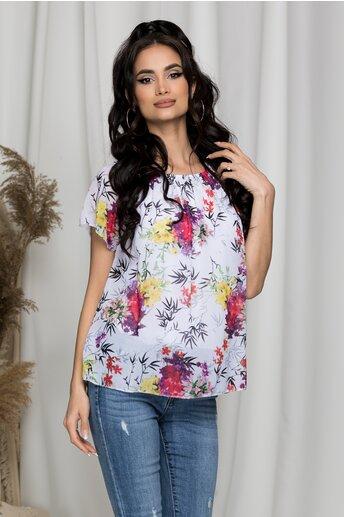 Bluza Criss alba cu imprimeu floral