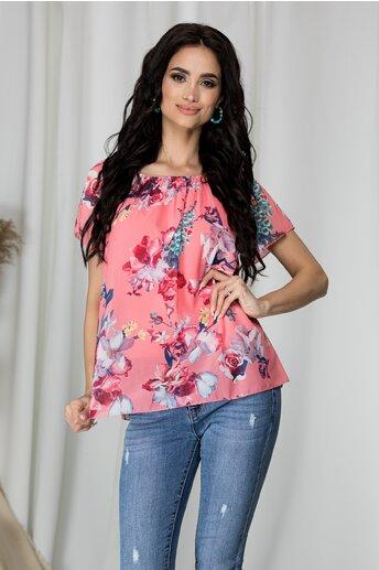Bluza Criss roz cu imprimeu floral