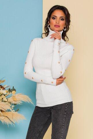 Bluza Cristina alba din tricot accesorizata cu nasturi aurii decorativi