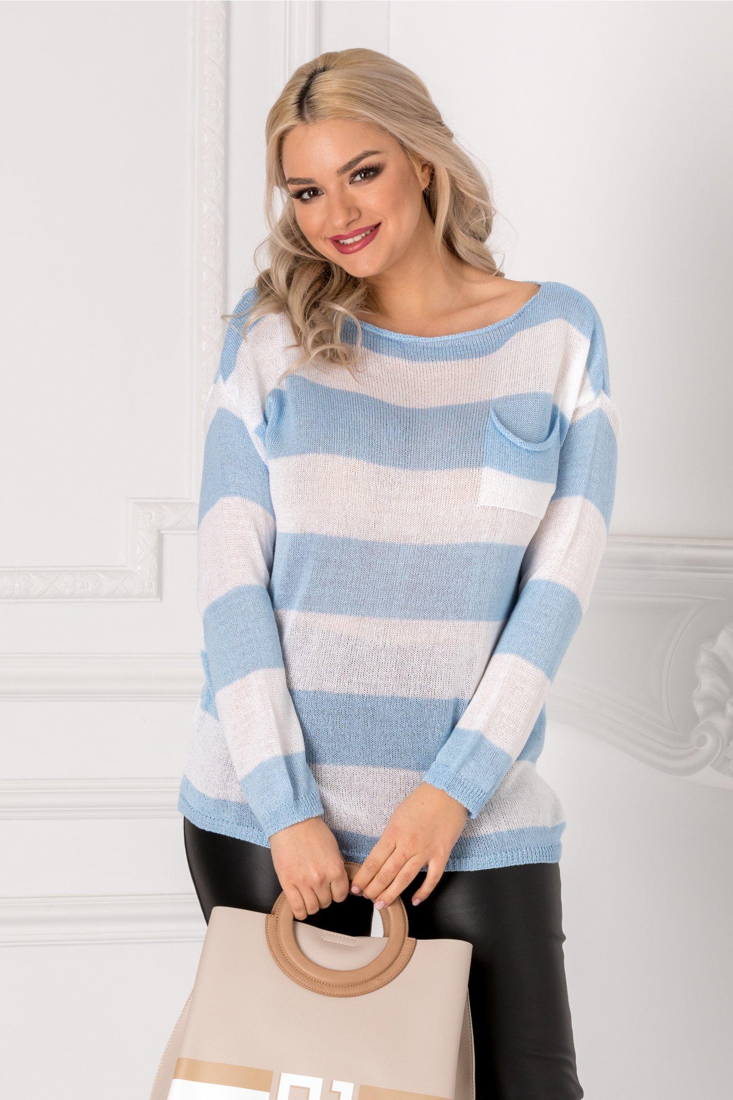 Bluza cu dungi orizontale bleu si albe