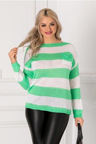 Bluza cu dungi orizontale verzi si albe