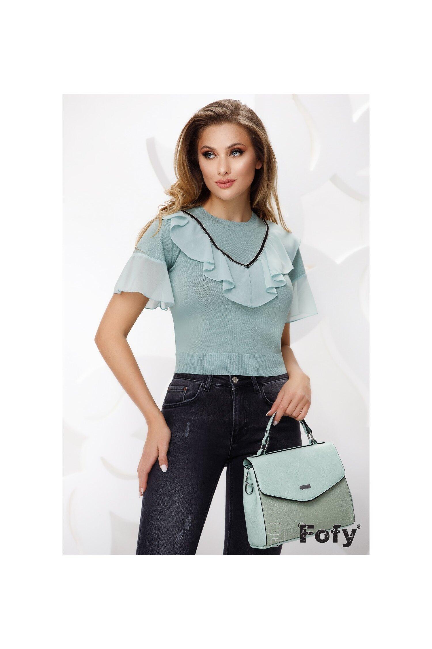 Bluza dama turcoaz cu maneca scurta tricotata cu volan de voal