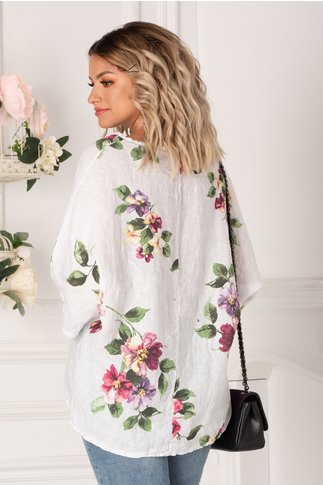 Bluza Damiana ivoire cu flori maxi