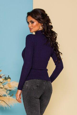 Bluza Dana bleumarin din tricot reiat