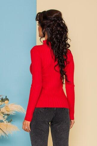 Bluza Dana caramizie din tricot reiat