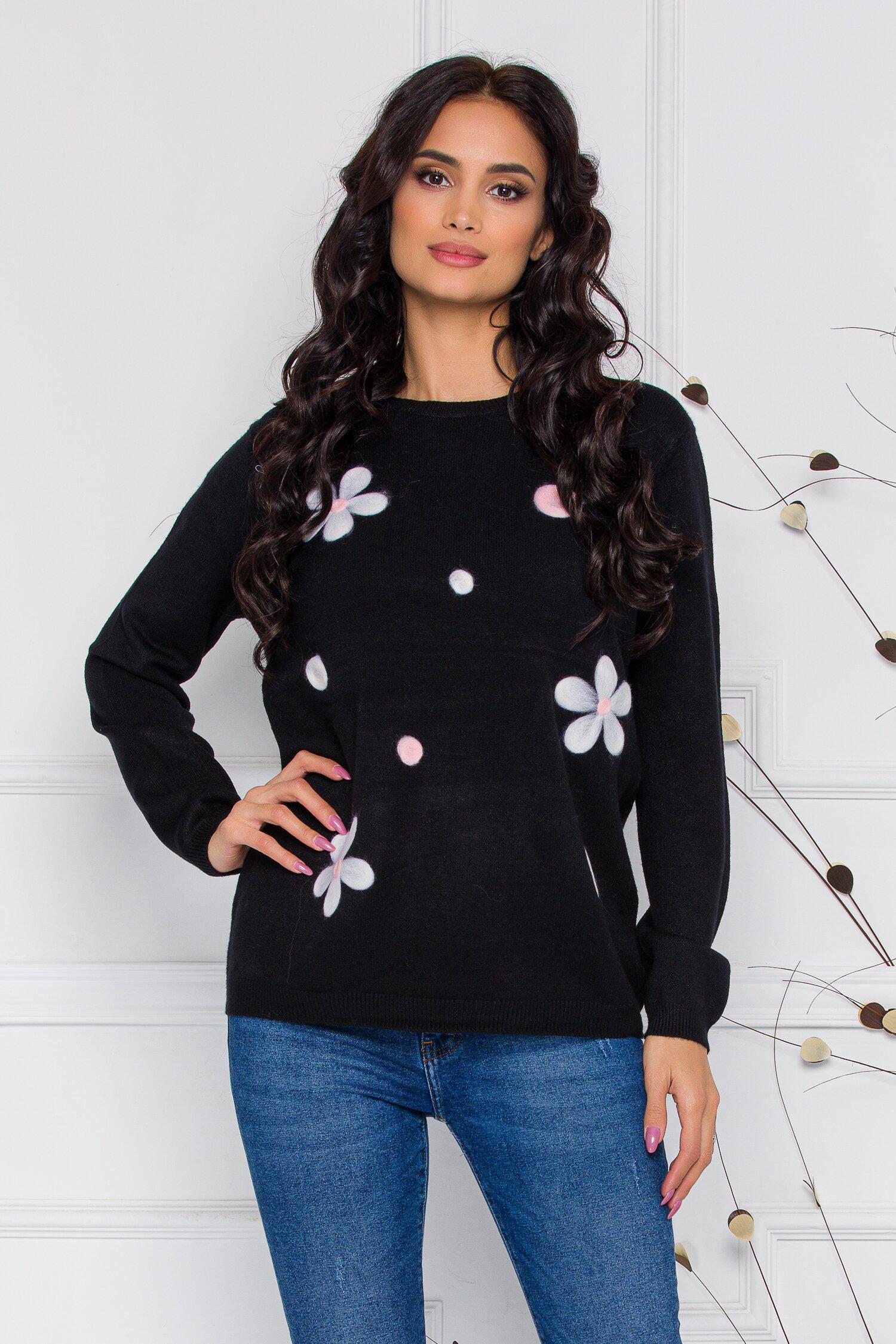 Bluza Dana neagra cu flori