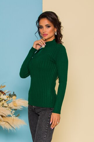 Bluza Dana verde pin din tricot reiat