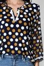 Bluza Daniela bleumarin cu buline albe si galbene