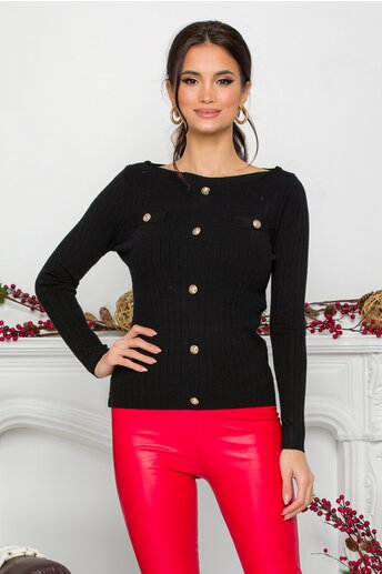 Bluza Danielle neagra cu nasturi decorativi
