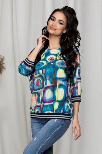 Bluza Dara albastra cu imprimeuri colorate