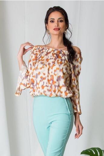 Bluza Dara bej cu imprimeuri maro