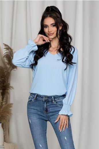 Bluza Dara bleu cu decupaj si dantela la spate