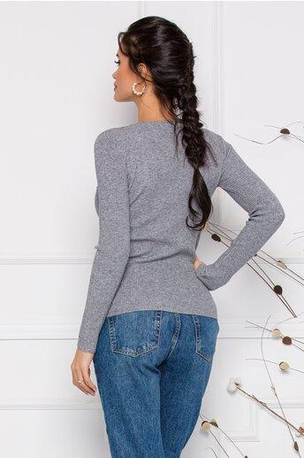 Bluza Dara gri din tricot reiat