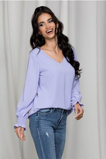 Bluza Dara lila cu decupaj si dantela la spate