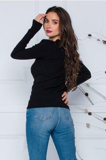 Bluza Dara neagra din tricot reiat