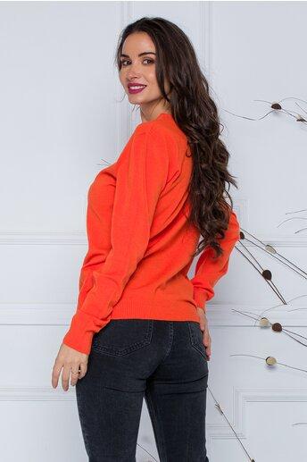 Bluza Dara orange cu nasturi discreti la decolteu