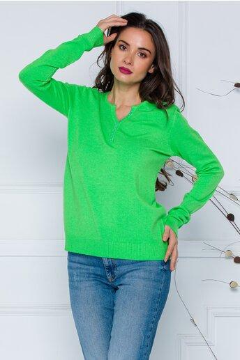 Bluza Dara verde cu nasturi discreti la decolteu