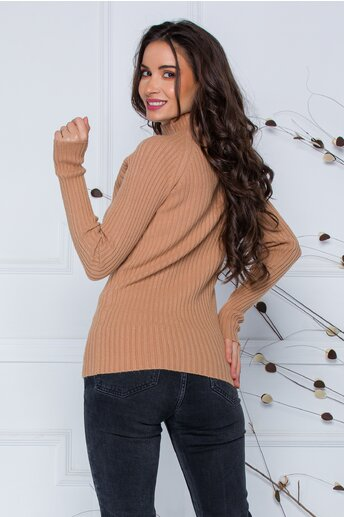 Bluza Daria bej din tricot reiat
