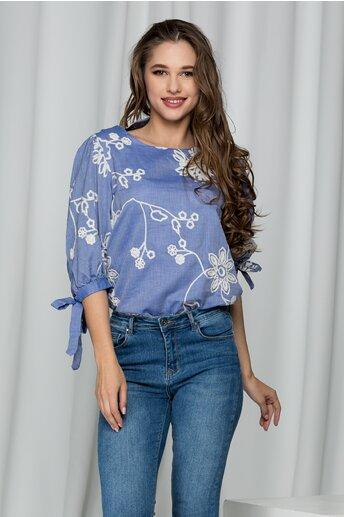 Bluza Daria bleu cu broderie florala