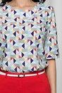 Bluza Daria bleu cu imprimeu geometric si aplicatie tip bijuterie