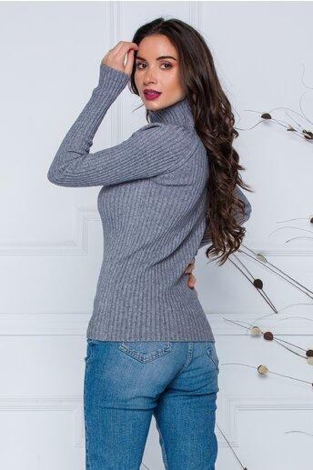 Bluza Daria gri din tricot reiat