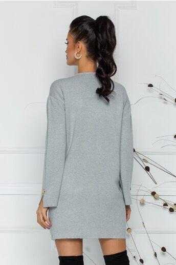 Bluza Daria lunga gri cu buzunare si nasturi decorativi