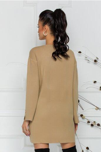 Bluza Daria lunga maro cu buzunare si nasturi decorativi