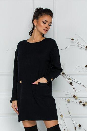 Bluza Daria lunga neagra cu buzunare si nasturi decorativi