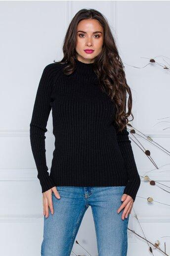Bluza Daria neagra din tricot reiat